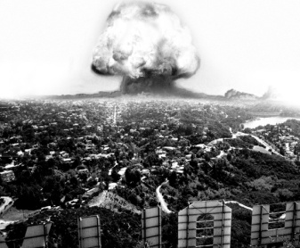 An image of an atomic bomb detonating in Los Angeles as viewed from Hollywood Sign, a parody of the Action genre by What Went Wrong Or Right With...?