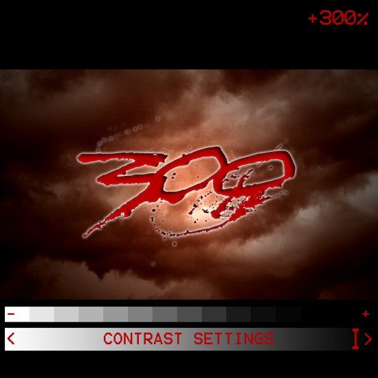 A parody of the opening titles of Zack Snyder's 300 shown with overlay of contrast settings set to high