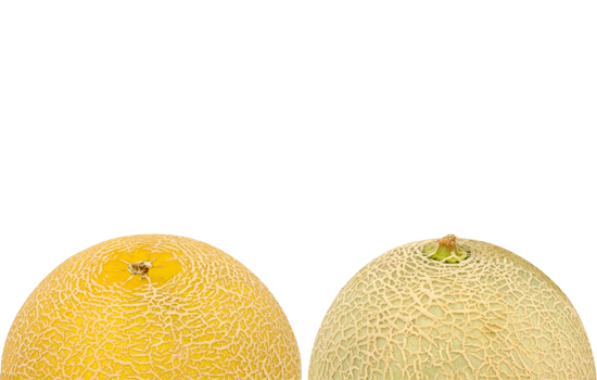 An image of two different melons to illustrate badly enhanced breasts and breast implants