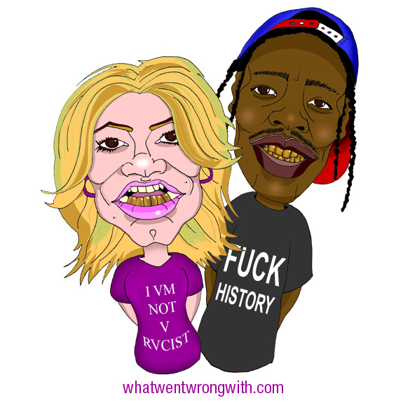 Caricatures of Anna Perp and A$AP Rocky wearing gold teeth and parodies of Black Scale Clothing by What Went Wrong Or Right With...?