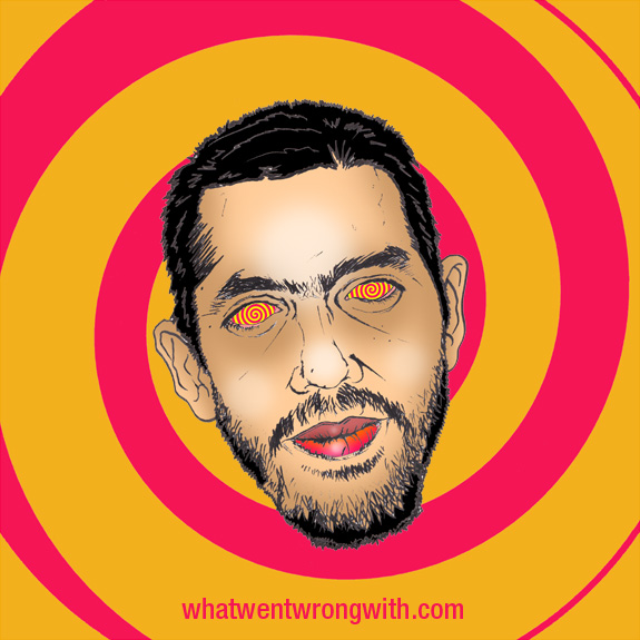 Caricature of David Blaine shown with hypnotic swirl eyes by What Went Wrong With