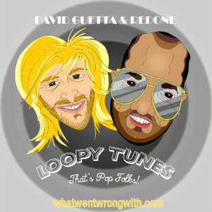 Caricatures of producers David Guetta and RedOne by What Went Wrong Or Right With...?