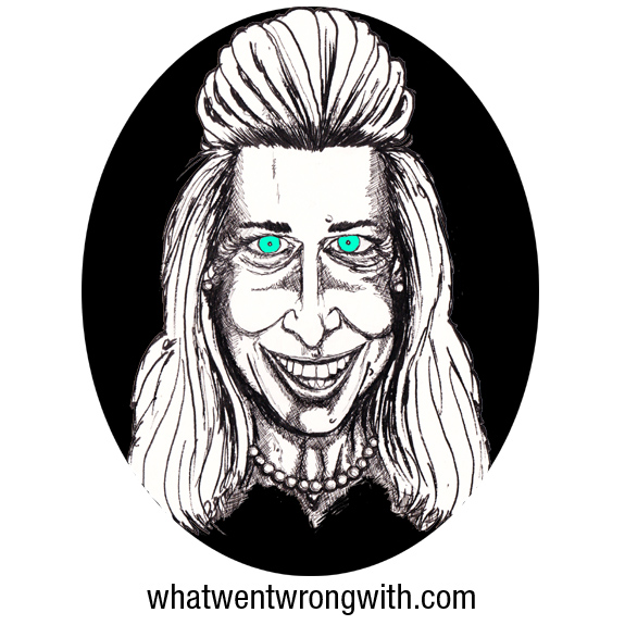 Black and White caricature of Katie Hopkins with blue eyes drawn by What Went Wrong With
