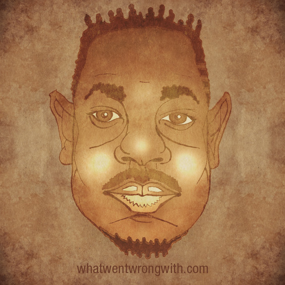Caricature of Kendrick Lamar shown as parody of Turin Shroud by What Went Wrong With