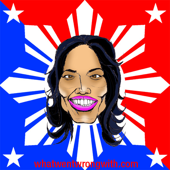 A caricature of Michelle Malkin shown against a background which is an amalgamation of the American and Filipino National Flags by What Went Wrong With