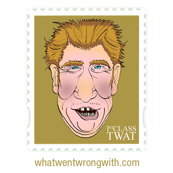 Caricature of Prince Harry depicted in a Stamp with text - 1st Class Twat - by What Went Wrong With