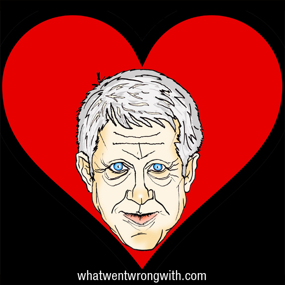 Caricature of Richard Curtis with a love heart behind him by What Went Wrong With