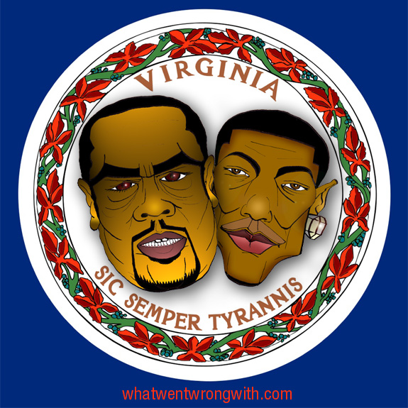 Caricatures of Timbaland and Pharrell of Neptunes against Virginian State Flag