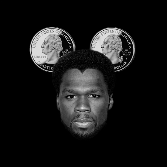 Image Of 50 Cent shown as Mickey Mouse with ears made from two quarters - by What Went Wrong With - whatwentwrongwith.com