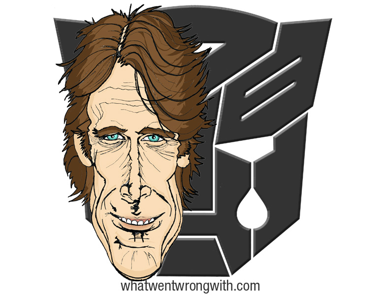 Caricature Of Michael Bay by What Went Wrong With. Shown in front of a crying Transformers logo
