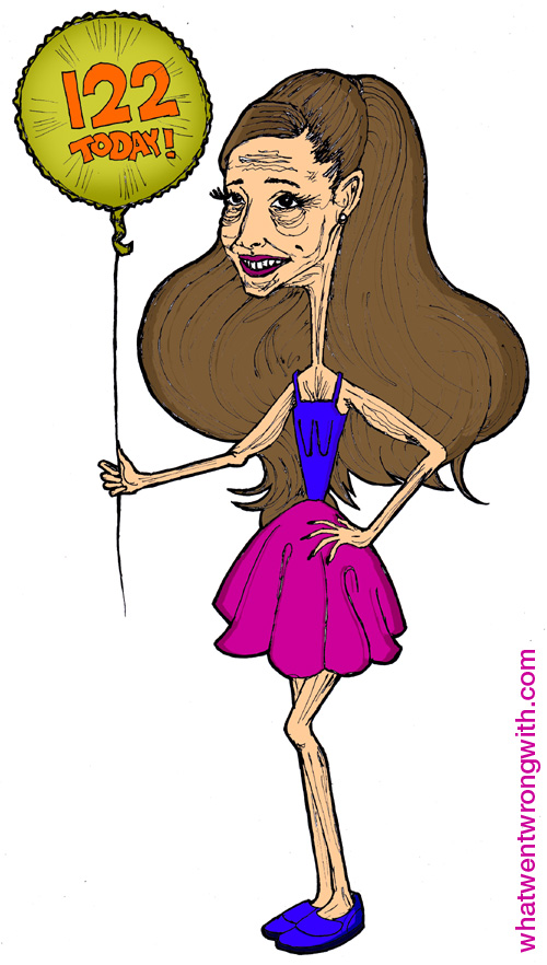 Caricature of Ariana Grande by What Went Wrong With - shown as an old woman still trying to look young