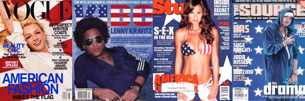 Magazine covers after September 11th 2001 showing patriotic themes including the use of red, white, and blue colours, and stars and stripes. By whatwentwrongwith.com