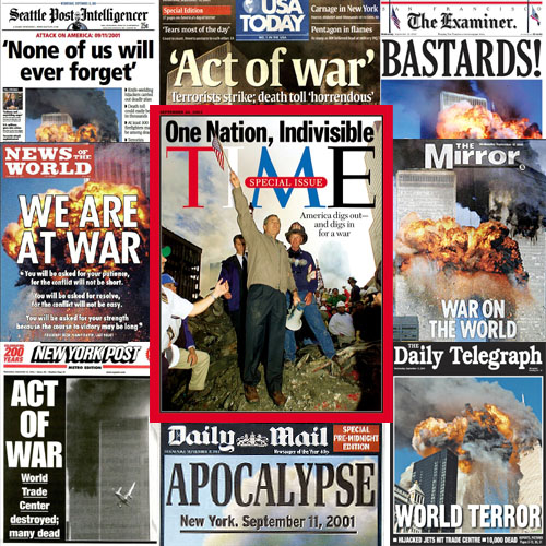 A collage of Newspapers on September 11th 2001 showing nationalistic headlines. By whatwentwrongwith.com