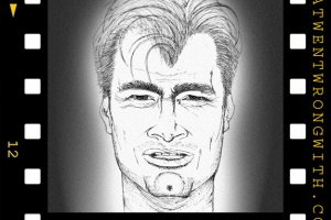 A caricature of Christopher Nolan
