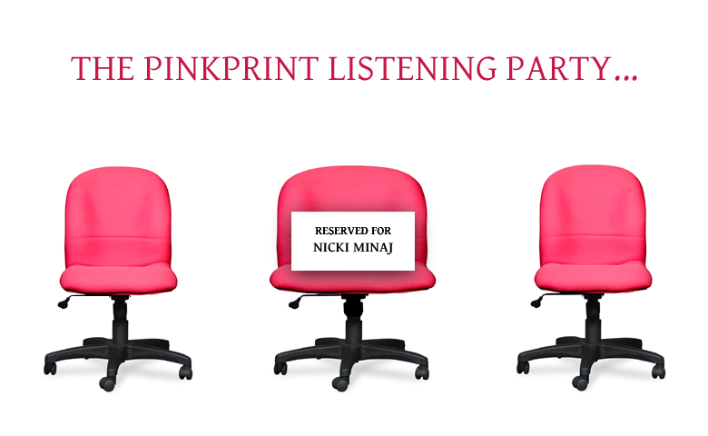 An image of three chairs at The Pinkprint listening party with a larger seat to accommodate Nicki Minaj's large buttocks