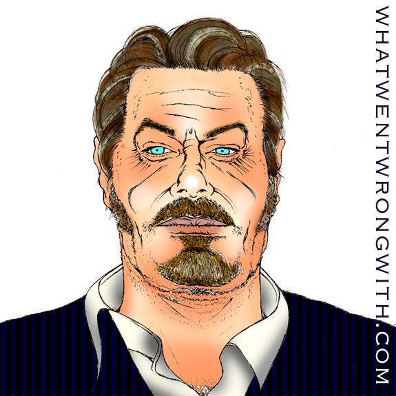 Caricature of Eddie Izzard wearing a suit and looking miserable - whatwentwrongwith.com