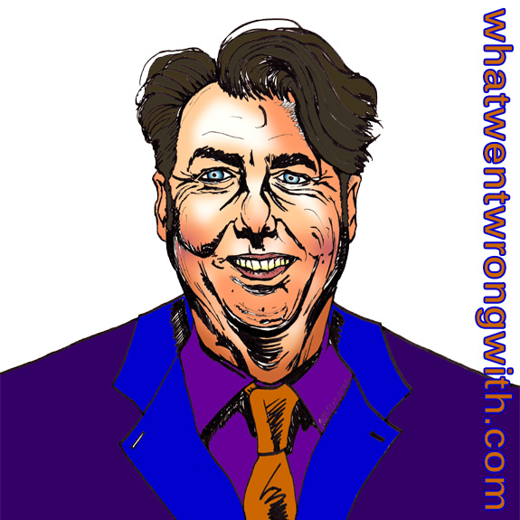 Caricature of Jonathan Ross wearing a bright suit - whatwentwrongwith.com