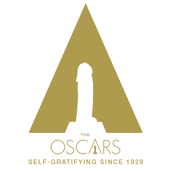 A parody of the Oscars Logo with a phallic shape replacing the Academy Award. By whatwentwrongwith.com