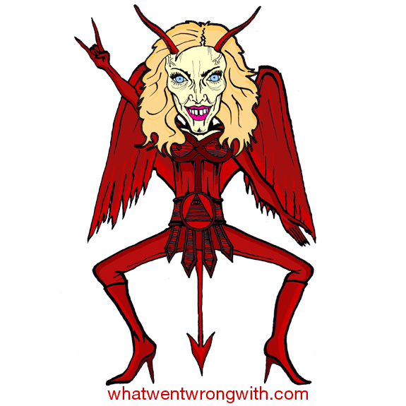 Caricature of Madonna wearing a satanic Illuminati style red costume by whatwentwrongwith.com