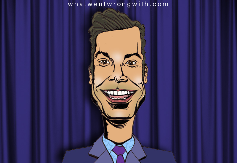 Caricature of Jimmy Fallon on The Tonight Show by what wentwrongwith.com