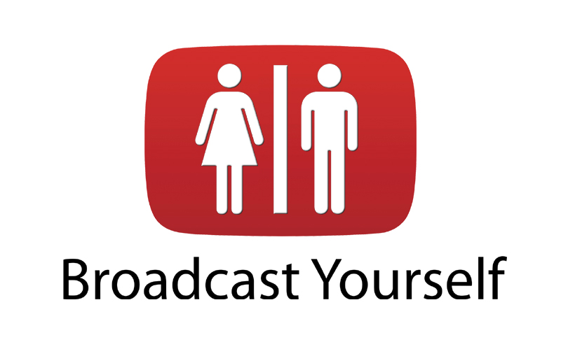 "Parody of the YouTube Logo as a toilet sign with the text ""Broadcast Yourself"""
