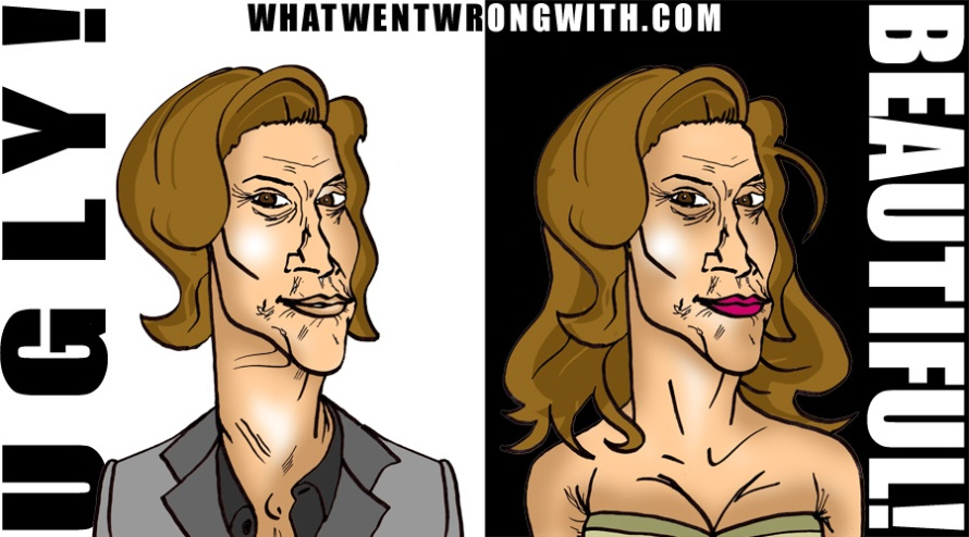 Caricatures of Caitlyn Jenner and Bruce Jenner side by side. By whatwentwrongwith.com