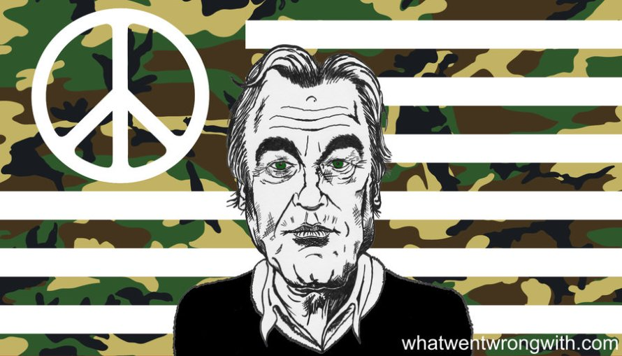 Caricature of Oliver Stone in front of a peace sign and a camouflaged American Flag by whatwentwrongwith.com