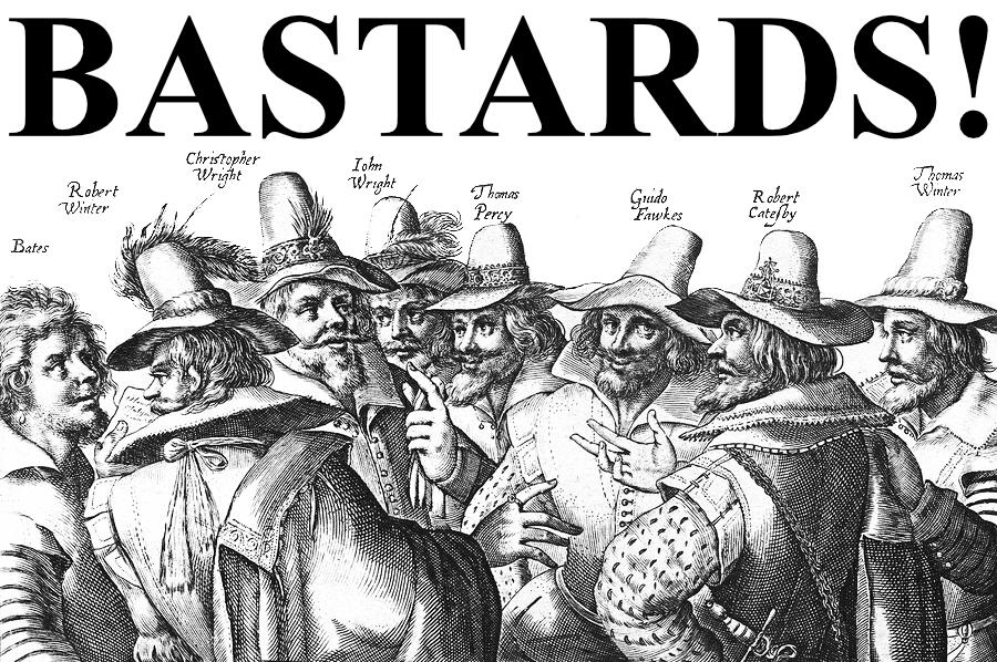 "What Went Wrong With... Guy Fawkes Night. Image of the Gunpowder plotters with the headline ""Bastards!"" referencing The Examiner's newspaper headline on 9/11"