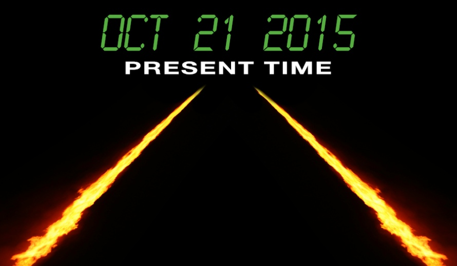 Image of the fire trail from Back To The Future with text reading Oct 21 2015 Present Time by whatwentwrongwith.com