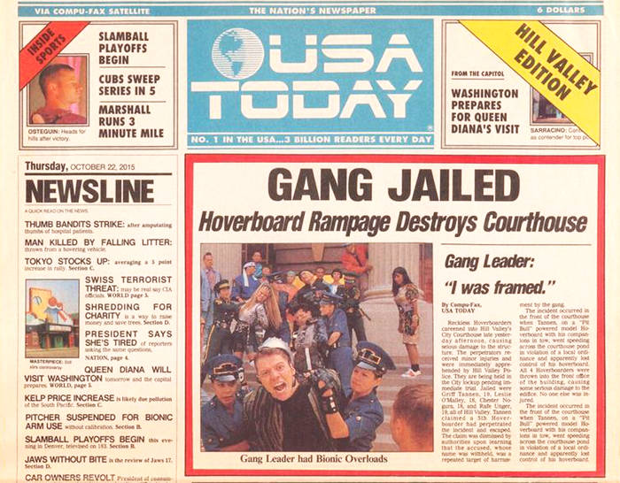 USA Today Newspaper Cover from Back To The Future Part II