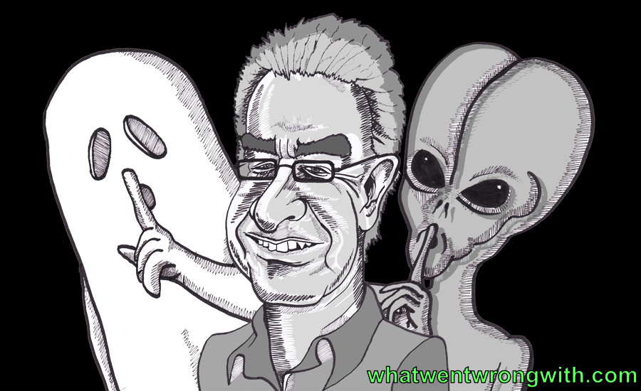 A caricature of Professor Chris French with a ghost and an alien hiding behind him by whatwentwrongwith.com