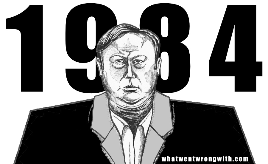 Caricature of radio talk show host and conspiracy theorist Alex Jones. By whatwentwrongwith.com