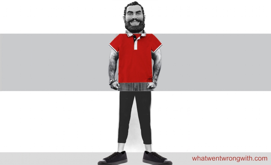 What Went Wrong With... The Lumberjack In Leggings Look? A composite image of Paul Bunyan with sleeve tattoos, leggings, polo shirt, and canvas shoes to illustrate mainstream men's fashion in 2015