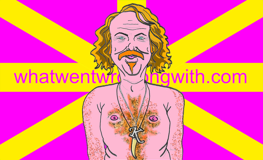A caricature of Keith Lemon (played by Leigh Francis) shown topless with ginger chest hair. By whatwentwrongwith.com
