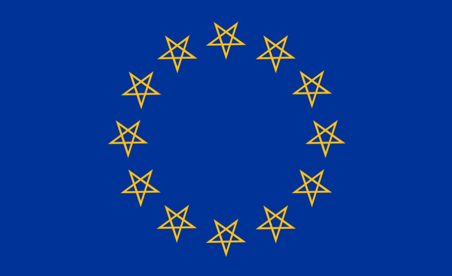 A parody of the EU Flag with inverted pentagrams replacing the stars. By whatwentwrongwith.com