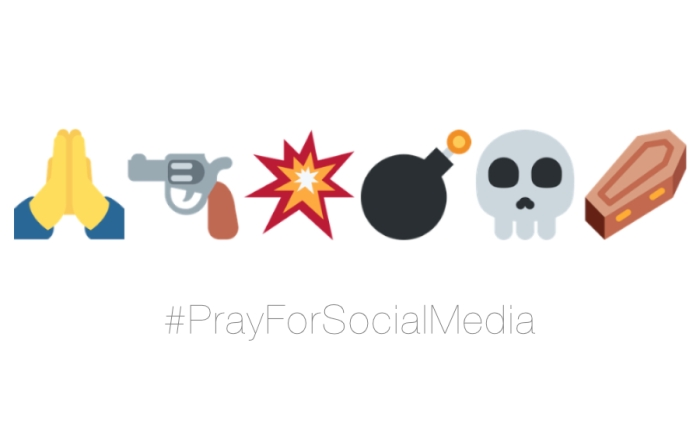 A parody of hollow sentiments on social media illustrated with a mock tweet featuring a prayer, gun, bomb, death, and coffin emojis by whatwentwrongwith.com