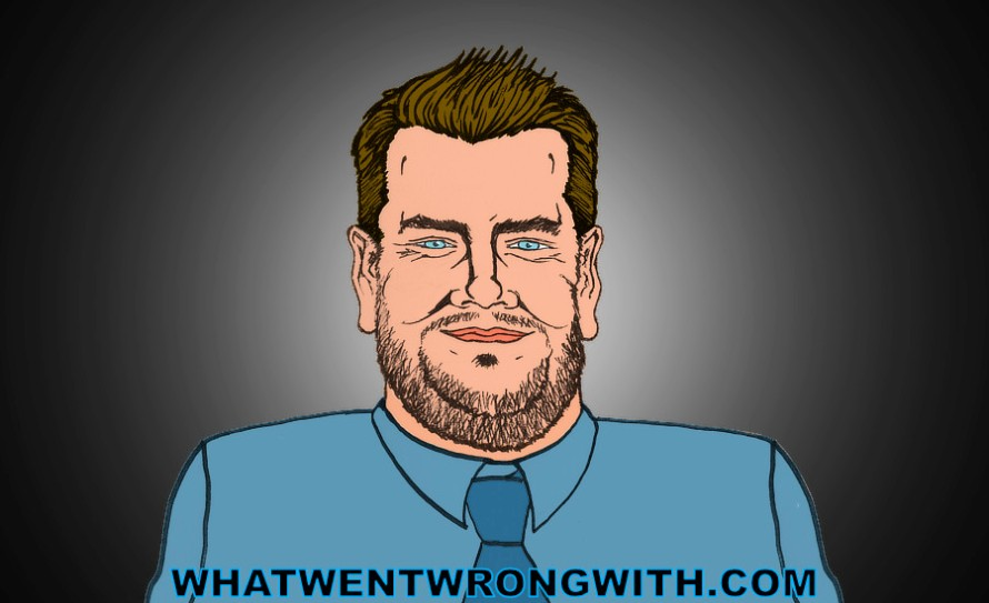 A caricature of James Corden by whatwentwrongwith.com