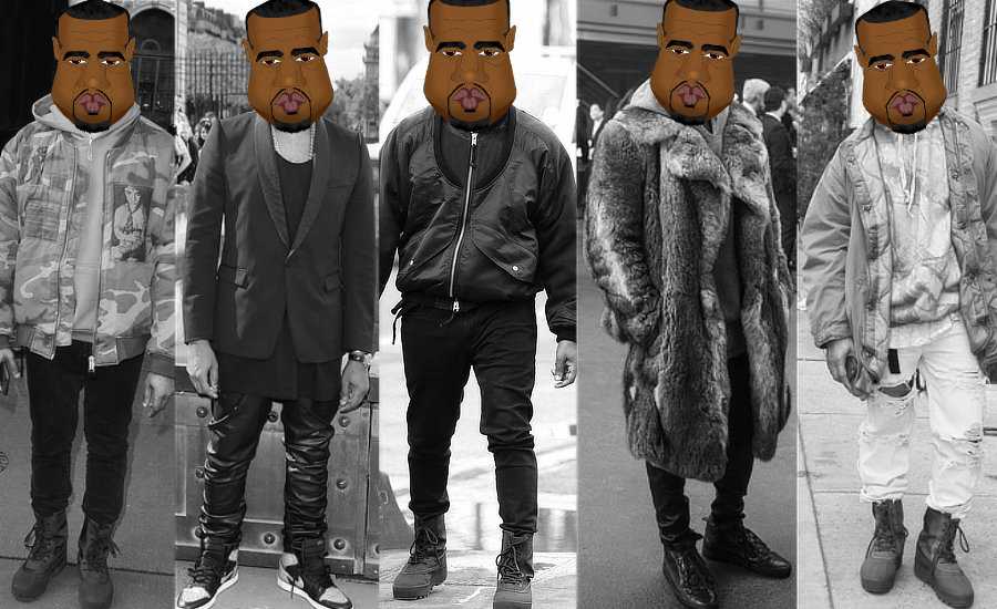 Caricatures of Kanye West shown wearing five different outfits by whatwentwrongwith.com