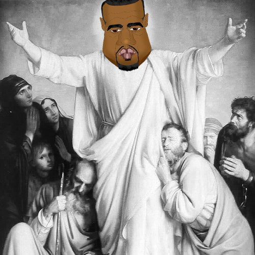 A caricature of Kanye West superimposed over an image of Jesus Christ to show his egotistical personality by whatwentwrongwith.com