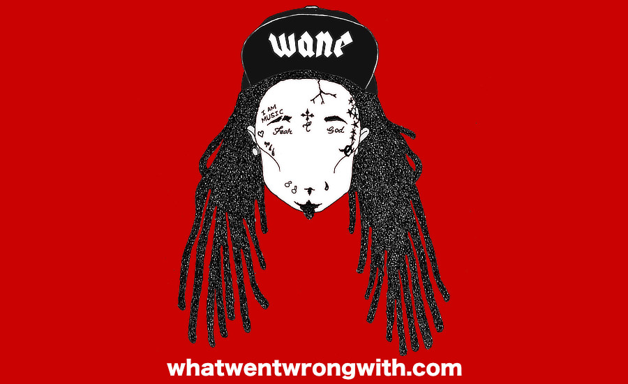 A caricature of Lil Wayne showing his face tattoos by whatwentwrongwith.com