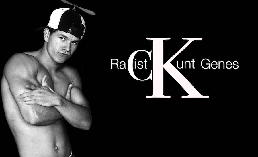 A parody of a Mark Wahlberg Calvin Klein photoshoot making a point about his racist past. By whatwentwrongwith.com