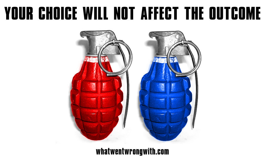 An image of two grenades to illustrate the choice of the 2016 U.S. Elections by whatwentwrongwith.com