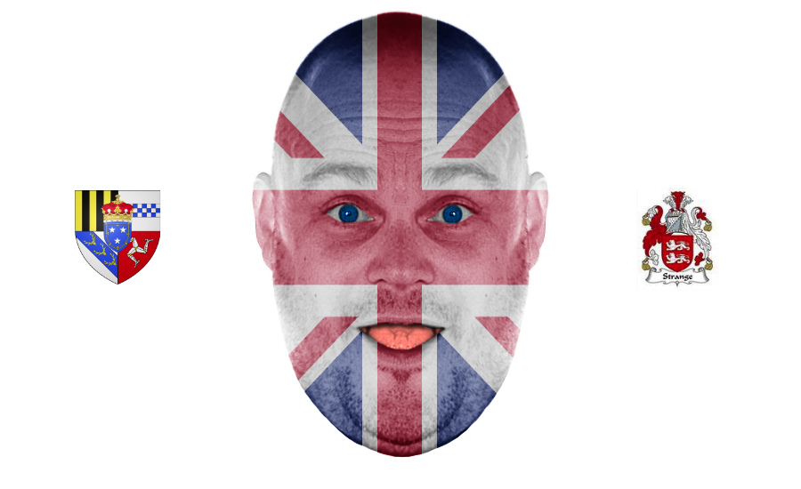 An image of Al Murray with the two coat of arms he is in line to receive. By What Went Wrong Or Right With