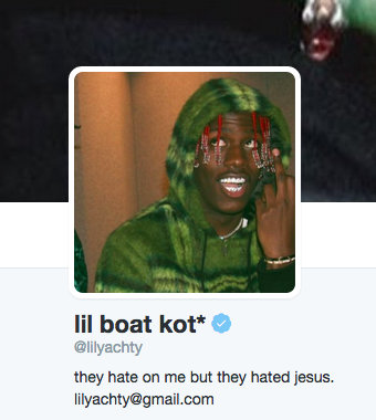 An image of Lil Yachty's Twitter where he compares himself to Jesus
