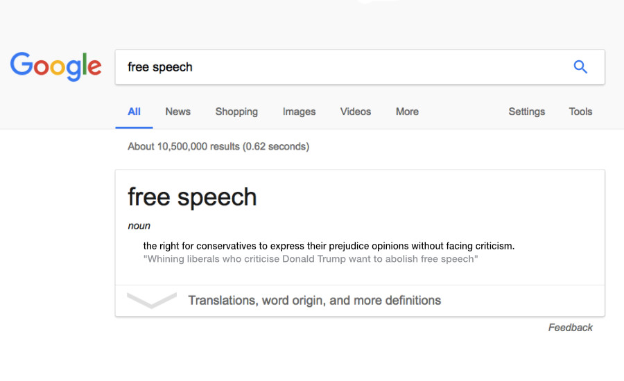 "What Went Wrong With... Confusing The Right To Be Offended With Censorship? A parody of the definition of ""Free Speech"" shown as a Google search result."