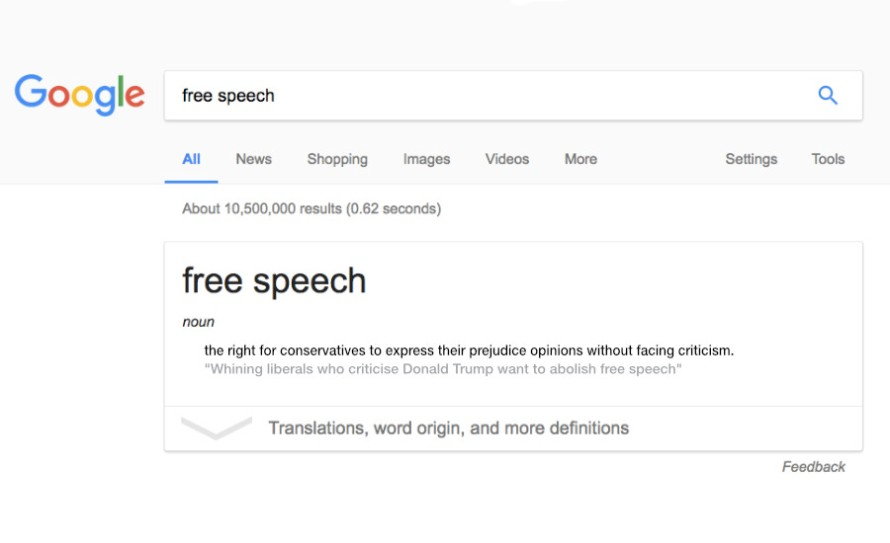 """What Went Wrong With... Confusing The Right To Be Offended With Censorship? A parody of the definition of """"Free Speech"""" shown as a Google search result."""
