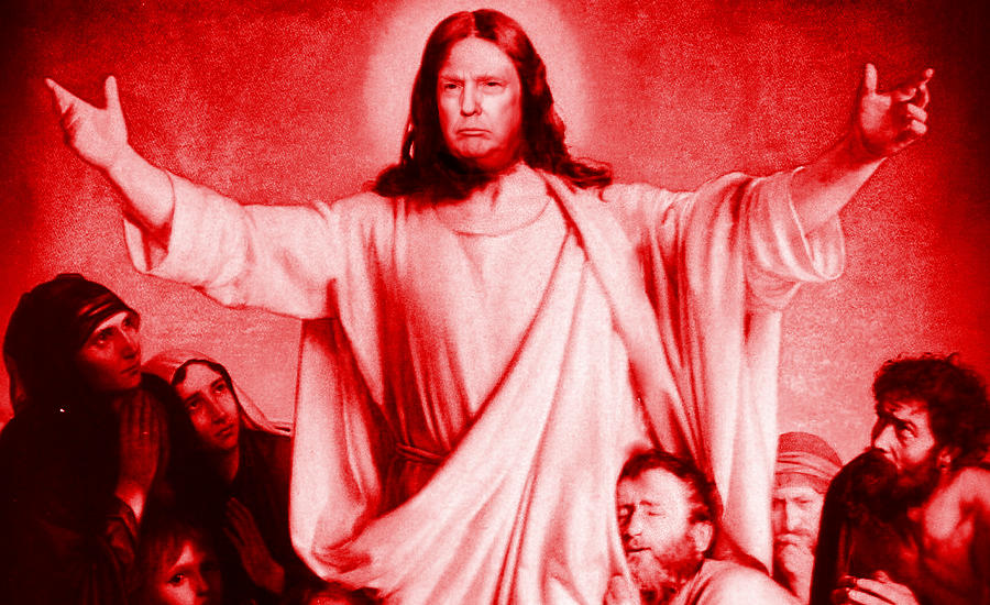 An image of Donald Trump as Jesus to mock his supporters. By What Went Wrong Or Right With...?