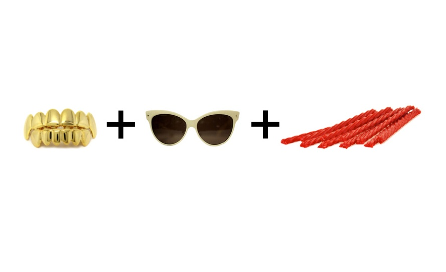 An image of gold teeth, seventies glasses, and Strawberry Twizzlers to represent Lil Yachty's look. By What Went Wrong Or Right With