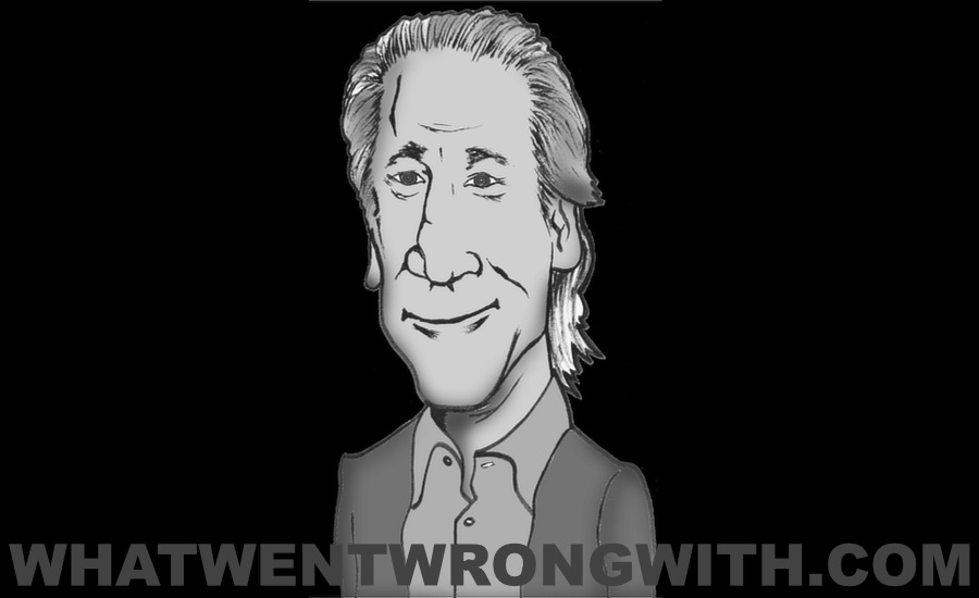 A caricature of Bill Maher by What Went Wrong Or Right With...? for whatwentwrongwith.com