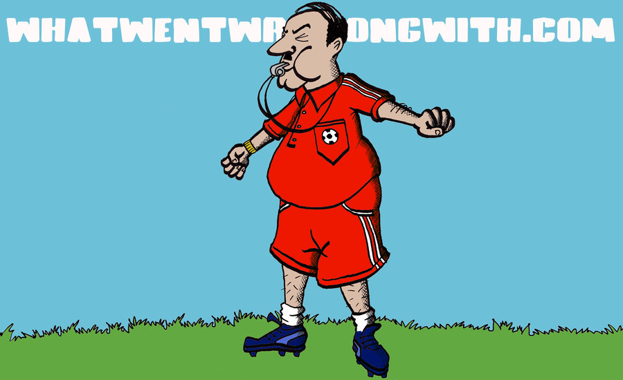 A cartoon illustration of a fat P.E. Teacher blowing a whistle. By What Went Wrong Or Right With...? for whatwentwrongwith.com